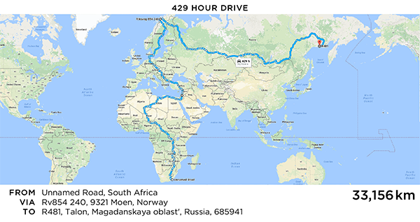 Longest Google Maps Route // Martin Krzywinski / Genome Sciences Center